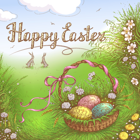 Hand Drawn  Easter Basket with Holiday eggs in the grass near Bunnies. Happy Easter Greeting Card. Vector sketch. Illustration