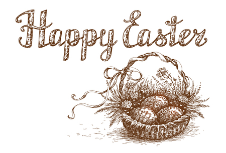 brown egg: Hand Drawn  Easter Basket with Holiday eggs. Happy Easter Greeting Card element. Vector sketch.