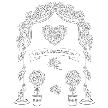 Contoured arch, topiary, flower heart and bouquet.  Set of outline floral elements isolated on white background. Black and white floral decoration for wedding and romantic design. 矢量图像