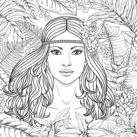 long black hair: Hand drawn girl and branches and leaves of tropical plants. Black and white floral illustration coloring page for adult. Monochrome image of woman with long curly hair. Vector sketch.