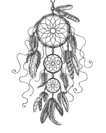 Hand Drawn Indian Amulet Dream Catcher. Atrapasueños monocromático. Ilustración de vector