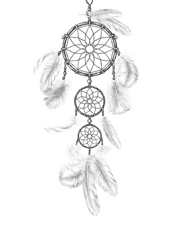 Hand Drawn Indian Amulet Dream Catcher. Monochrome dreamcatcher with light feathers isolated on white. Vector sketch.