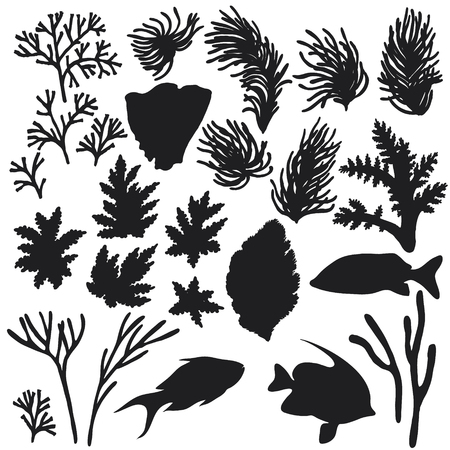手には、水中の自然な要素が描画されます。リーフ動物のスケッチ。魚やサンゴのシルエットのセット。