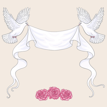 flower tattoo design: Hand drawn white flying doves with banner ribbon and pink roses isolated on beige background. Contoured image. Space for text. Two pigeons vector sketch. Holiday decoration element.