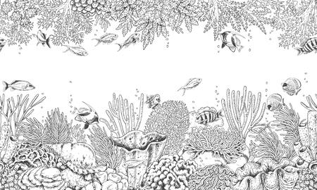 Ręcznie rysowane podwodne elementy naturalne. Ilustracje wektorowe