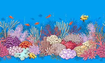 oceanarium: Hand drawn underwater natural elements. Coral reef horizontal border. Vivid  seamless pattern made with corals and swimming fishes. Undersea bottom texture.