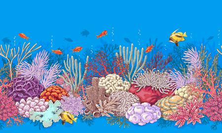 Ręcznie rysowane podwodne elementy naturalne. Granica pozioma rafy koralowej. Żywy wzór wykonany z koralowców i pływających ryb. Podmorska tekstura dna.
