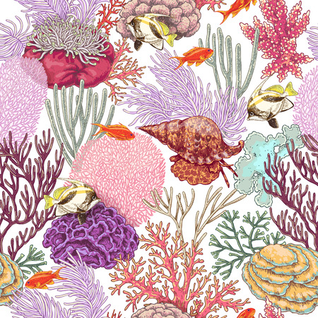 Hand drawn underwater natural elements. Coral reef seamless pattern.