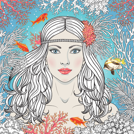 Hand drawn Mermaid among corals and swimming fishes. Partially colored illustration coloring page for adult.  Blue-eyed girl with long curly hair on underwater background.