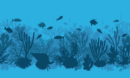 oceanarium: Hand drawn underwater natural elements. Coral reef horizontal seamless pattern.  Blue monochrome silhouettes of corals, clam and swimming tropical fishes. Undersea bottom texture.