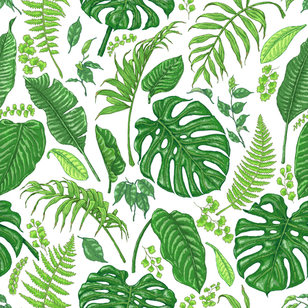 Hand drawn branches and leaves of tropical plants. Foliage seamless pattern made with  monstera, fern, palm fronds sketch.