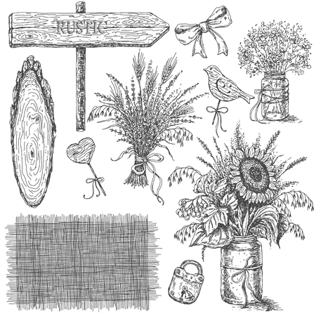 Hand drawn rustic decoration set. Monochrome bouquets of flowers and wooden items isolated on white. Ilustrace