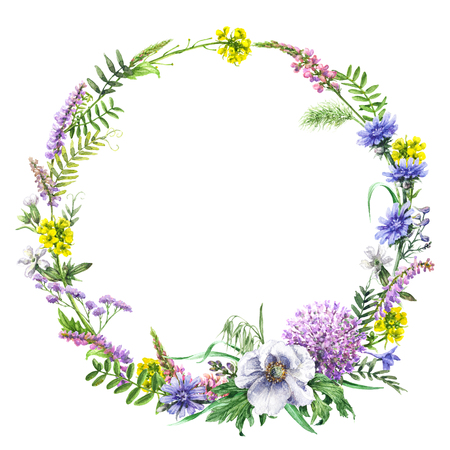 Hand drawn floral set. Watercolor wild flowers wreath  isolated on white background. Summer round frame made with pink, yellow and blue wildflowers. Stock Photo