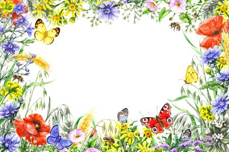 손으로 그린 야생 꽃과 곤충입니다. 노란색, 파란색, 빨간색 야생화, 나비와 꿀벌 비행 수채화 생생한 사각형 가로 프레임. 텍스트를위한 공간입니다.