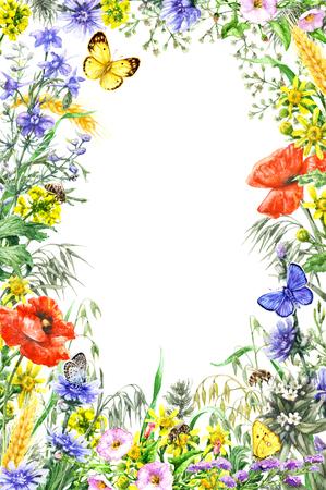 손으로 그린 야생 꽃과 곤충입니다. 노란색, 파란색, 빨간색 야생화, 나비와 꿀벌 비행 수채화 생생한 사각형 세로 프레임. 텍스트를위한 공간입니다.