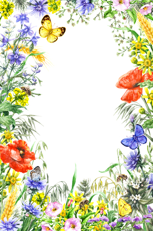 Hand drawn wild flowers and insects. Watercolor vivid rectangle vertical frame with yellow, blue, red wildflowers, flying butterflies and bees. Space for text.