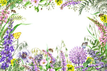Dibujado a mano las flores silvestres y los insectos. Marco horizontal acuarela rectángulo vívido con flores silvestres de color amarillo, rosa, lila, mariposas volando y las abejas. Espacio para texto Foto de archivo - 84249960
