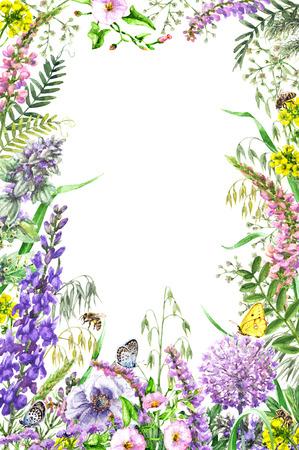 Hand getrokken wilde bloemen en insecten. Verticaal frame aquarel levendige rechthoek met geel, roze, lila wilde bloemen, vlinders en bijen. Ruimte voor tekst. Stockfoto