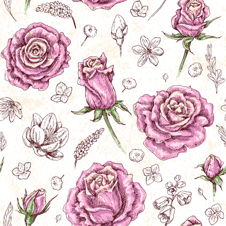 Hand drawn doodle flowers and floral elements. Seamless pattern made with scattered pink roses and buds.Grunge texture. Vector sketch.