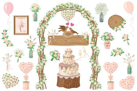 Ensemble d'éléments de mariage. Style rustique. Décoration rose crème. Arc floral, bouquets, gâteau, verres à vin, fleurs en pots, bocaux, oiseaux sur nid, ballons isolés sur blanc. Plate illustration vectorielle. Banque d'images - 85052483