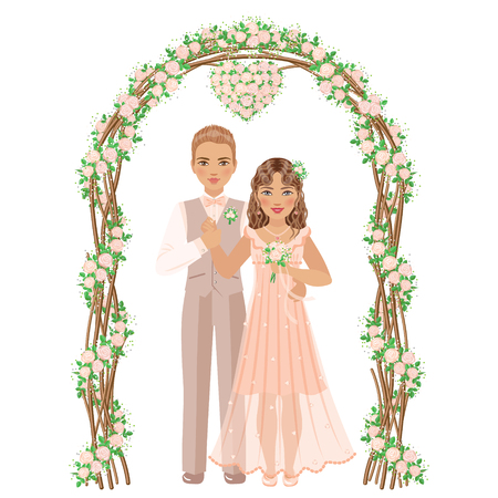 Groom and bride under a flower arch isolated on white background. Rustic style. Cream rose wedding decoration.