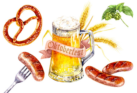 Hand drawn food and drink illustration. Watercolor glass of light beer, pretzel with salt, fried sausages, hop branches, banner and barley ears. Oktoberfest holiday theme. 版權商用圖片