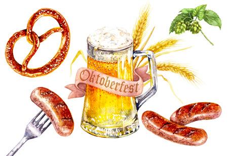 Handgezeichnete Essen und Trinken Illustration. Aquarellglas helles Bier, Brezel mit Salz, Bratwürste, Hopfenzweige, Fahne und Gerstenohren. Oktoberfest Urlaub Thema. Standard-Bild - 85078550