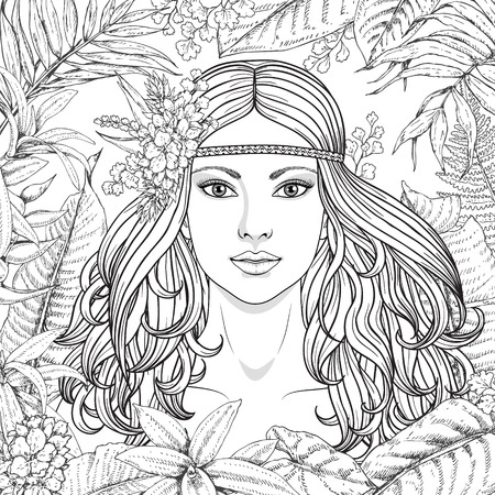 Hand drawn girl and branches, leaves of tropical plants. Black and white floral illustration coloring page for adult. Monochrome image of woman with long curly hair. Vector sketch.