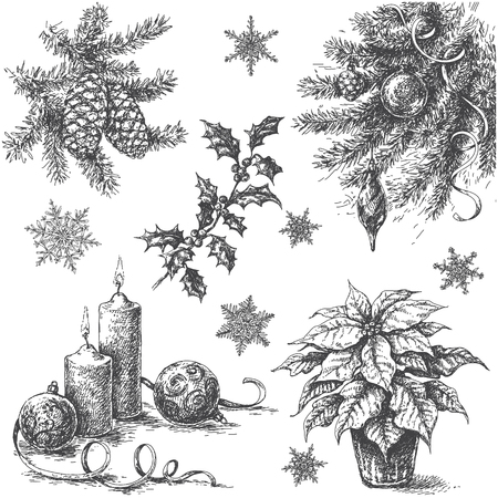 Monochrome Set of Christmas and New Year holidays decorations. Hand drawn Christmas plants, candles and snowflakes isolated on white background. Vector sketch. Illustration