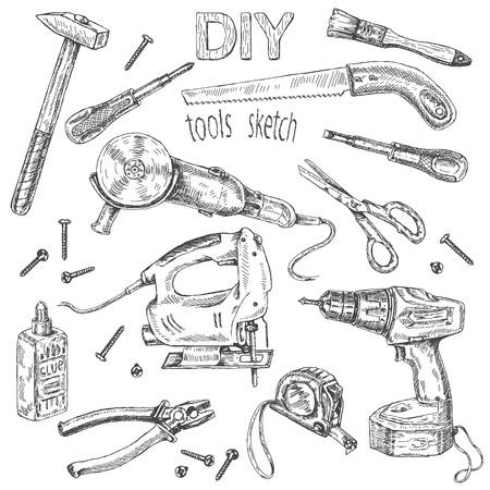 Hand drawn set of instruments. Monochrome   fretsaw, turn-screw, angle  grinder  isolated on white. Illustration