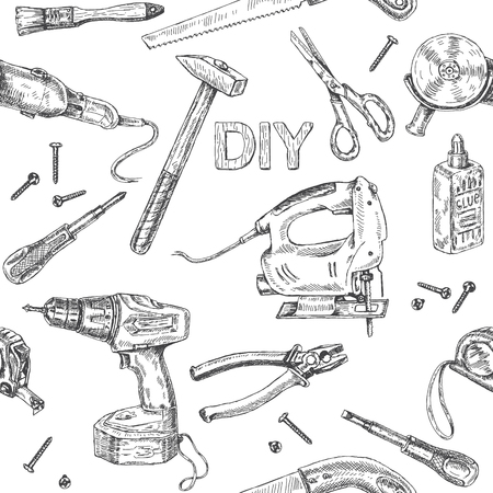 Monochrome seamless pattern made with tool kit DIY. Instruments sketch set.  Hand drawn fretsaw, turn-screw, angle grinder on white background.