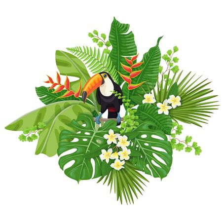 녹색 나뭇잎과 열 대 식물의 조류와 꽃 화이트 절연 다채로운 꽃 무리. 큰 부리 새가 분기에 앉아입니다. 벡터 플랫 그림입니다. 일러스트