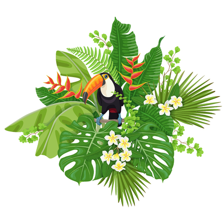 Colorful  floral bunch with green leaves and flowers of tropical plants  and  bird isolated on white.  Toucan sitting on liana branch. Vector flat illustration. Vettoriali