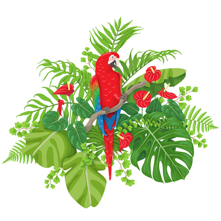 Colorful floral bunch with green leaves and flowers of tropical plants and bird isolated on white. Red-and-green macaw sitting on liana branch. Vector flat illustration. Ilustração
