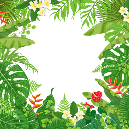 Colorful leaves and flowers of tropical plants background. Square floral frame with space for text. Tropic rainforest  foliage border. Vector flat illustration.