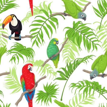 Naadloos patroon met tropische vogels en palmvarenbladen op witte achtergrond. Kleurrijke papegaaien en toekan zittend op takken. Tropic regenwoud gebladerte textuur. Platte vectorillustratie.