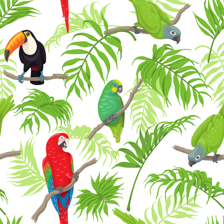 Seamless pattern with tropical birds and palm fronds on white background. Colorful parrots and toucan sitting on branches. Tropic rainforest foliage texture.  Vector flat illustration. Illustration
