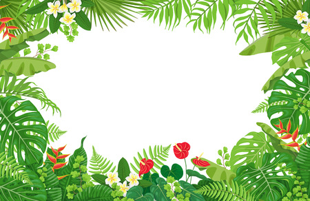 Colorful leaves and flowers of tropical plants frame vector Ilustração