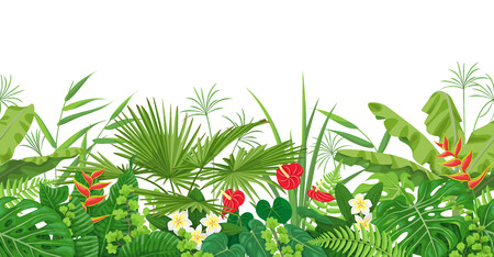 Horizontal floral seamless border made with colorful leaves and flowers of tropical plants on white background. Tropic rainforest foliage pattern. Vector flat illustration.