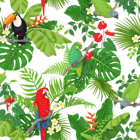 Seamless pattern made with tropical birds, leaves and flowers on white background. Colorful parrots and toucan sitting on branches. Tropic rainforest foliage texture.  Vector flat illustration.