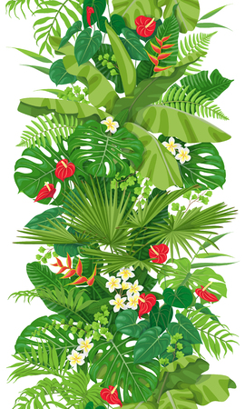Vertical floral seamless pattern made with colorful leaves and flowers of tropical plants on white background. Tropic rainforest foliage border. Vector flat illustration.