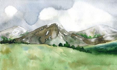 水彩画。 ●手描きのイラスト。嵐の空と山の風景。 自然の景色。 写真素材