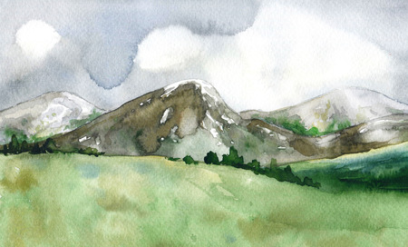 Watercolor painting.  Hand drawn illustration. Mountain landscape with stormy sky.  Nature views.  Stock Photo