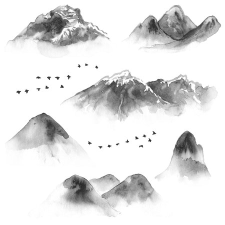 Watercolor painting. Hand drawn illustration. Set of ink mountains and flying birds. Nature landscape design elements. Monochrome hills and mountains with snow tops.