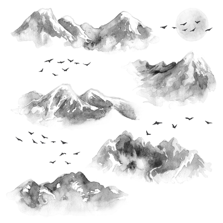 Watercolor painting. Hand drawn illustration. Set of ink mountains and flying birds. Nature landscape design elements. Monochrome moon and mountains with snow tops. Stok Fotoğraf