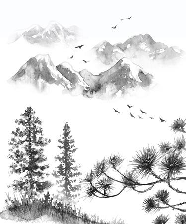 Aquarel schilderij. Hand getekende illustratie. Monochrome sereniteit natuur scène met bergen, vliegende vogels, sparren op heuvel en pijnboomtakken. Oosters inktlandschap.