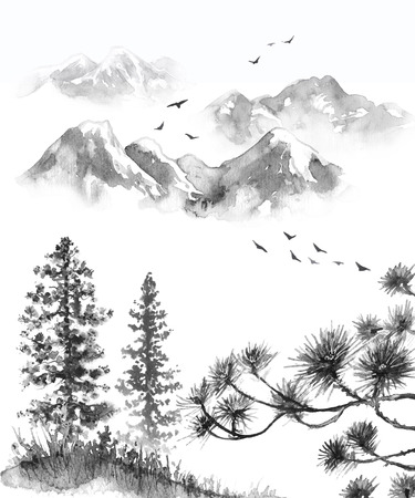 Watercolor painting.  Hand drawn  illustration. Monochrome serenity nature scene with mountains, flying birds, fir trees on hill and pine branches. Oriental ink landscape.