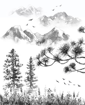 Watercolor painting.  Hand drawn  illustration. Monochrome serenity nature scene with mountains in mist, flying birds, fir trees, dried grass and pine branches. Oriental ink landscape. Stockfoto