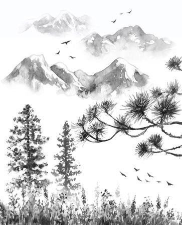 Aquarel schilderij. Hand getekende illustratie. Monochrome sereniteit natuur scène met bergen in mist, vliegende vogels, sparren, gedroogd gras en pijnboomtakken. Oosters inktlandschap. Stockfoto
