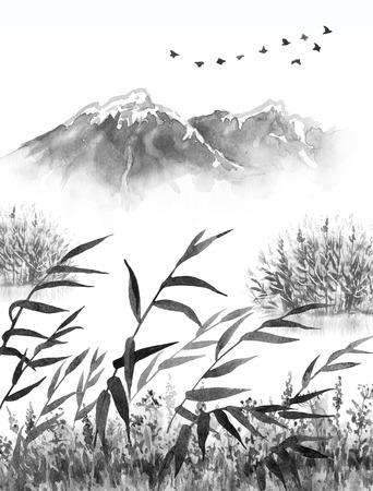 Aquarel schilderij. Hand getekende illustratie. De zwart-wit scène van de sereniteitsaard met bergen in mist, vliegende vogels, droog gras en riet. Oosters inktlandschap. Stockfoto